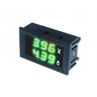 Амперметр вольтметр 5-30В 10А зеленый