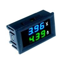 Амперметр вольтметр 5-30В 10А синезеленый